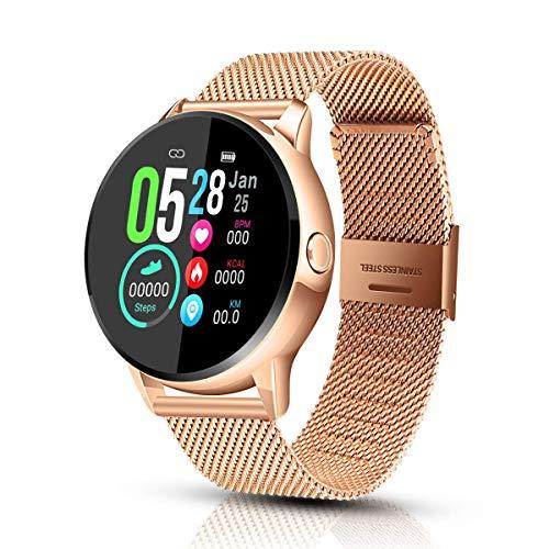 EIVOTOR Smartwatch Damen Fitness Armband Tracker Sport Uhr mit Pulsmesser Blutdruckmessung Armbanduhr IP68 Wasserdicht Schrittzähler Kalorienzähler Schlafmonitor Aktivitätstracker für Android IOS Gold