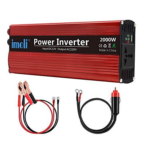 imoli 2000W Auto Wechselrichter, DC zu AC 12V zu 220V-240V, 4000W Spitzenleistung, Mit Zwei USB-Ladeanschlüssen und Netzsteckdose, Modifizierter Sinus-Spannungswandler für Kraftfahrzeuge