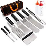 HaSteeL Metal Spatula 11 Piece, Stainless Steel Griddle Grill Accessories Tools Kit for Flat Top Teppankiya Hibachi Cooking Camping - Griddle Spatulas/Scraper/BBQ Tong/Steak Knives/Carrying Bag