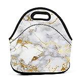Bolsa portátil de neopreno de mármol dorado con correa de cremallera, bolsa de transporte para picnic, viajes al aire libre, bolso de mano de moda, para mujeres, hombres, niños y niñas