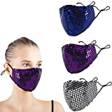 Fashion Sequin Cotton Cloth Mask Breathable for Women, Reusable Pretty Bling Queen Face Cover Decorative (Purple+Blue+Silver)