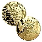 JYGCOIN Masonic Coin Master Mason Freemason Lodge Family Map Working Tools