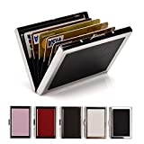 RFID Credit Card Holder Wallets for Women or Men Slim Stainless Steel and PU Leather Credit Card Protector for Holding Debit ATM Card