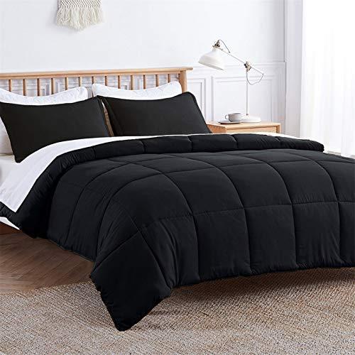 VEEYOO Double Size Duvet 10.5 Tog - All Season Soft Quilted Down Duvet Double Size Duvet - Warm Hypoallergenic Duvet 3 Pieces, Black