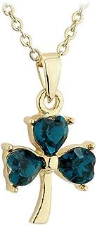 Green Shamrock Necklace Gold Plated & Crystal Irish Made