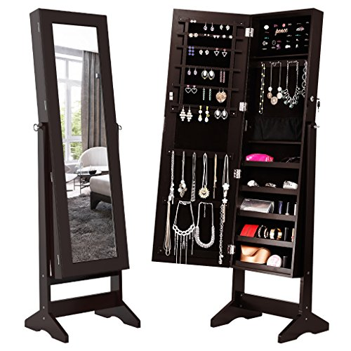 LANGRIA Lockable Jewelry Cabinet Jewelry Armoire with Mirror Jewelry Holder...