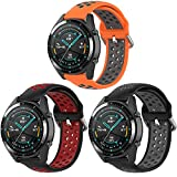 Pailebi 22mm Quick Release Replacement Bands for Galaxy Watch 46mm/Gear S3 Frontier/Classic/TicWatch Pro/S2/Asus Zenwatch 2/Pebble Classic(Orange/Gray+Black/Red+Black/Gray,22mm)