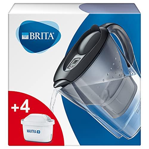 BRITA Marella Graphite - Jarra de Agua Filtrada con 4 cartuchos MAXTRA+ - Filtro de agua que reduce la cal y el cloro – Agua filtrada para un sabor óptimo - 2.4 L