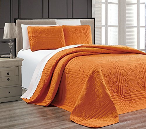 "3-Piece ORANGE Oversize ""Stella Grande"" Bedspread KING / CAL KING Embossed Coverlet set 118 by 106-Inch"