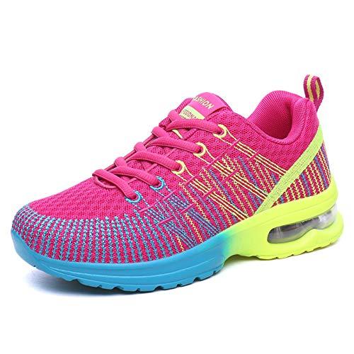 AIRAVATA Zapatillas de correr para hombre y mujer, con cojín de aire, ligeras, transpirables, para caminar, gimnasio, correr, fitness, atletismo, Rose-shtf861, 40.5 EU