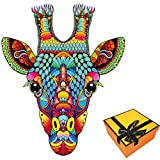 Wooden Jigsaw Puzzles, Wooden Puzzles for Adults, Best Gift for Adults and Kids,181 PCS Uniquely Shaped Animal-Shaped Puzzles Pieces, Giraffe-Shaped Puzzle by eyesAme, 9.25X11.4inches M