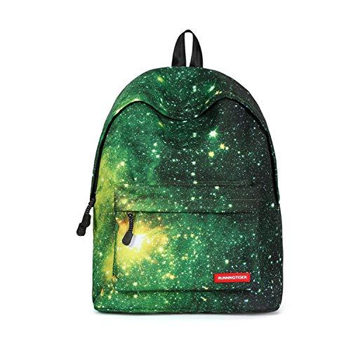 FANDARE Schulrucksack Galaxy Schultasche Junge Mädchen Rucksäcke Schulranzen Teenager Tagesrucksack Reise Daypack Damen 14 Zoll Laptop-Tasche Kinderrucksäcke Wasserdicht Polyester Grün