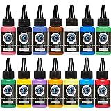 Juego de tintas para tatuaje 14 Kit de pigmento de colores completos 1 oz (30 ml) Tattoo Supply 14 Juego de pigmentos para microalimentación de color primario
