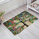 Felpudo decorativo con diseño de árbol de la vida, antideslizante, lavable en el barco, bienvenida, entrada, baño, decoración del hogar, abstracto, bienvenida, alfombra absorbente antideslizante