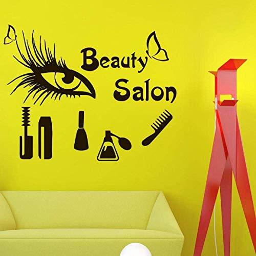 Salon De Beauté Vinyle Mur Tatouage Sexy Peigne Pour Les Yeux Mascara Cils Parfum Maquillage Outils Lettrage Wall Sticker Boutique Décor Décoratif 70 X 55 Cm