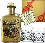 BOLT Gin Geschenk limitiert 1.250 Flaschen aus deutscher Edelmanufaktur Luxus Dry Gin in Silber 3D Tresor wilde Bergamotte und Kardamom Geschenkset mit 2 Gläsern TOP Qualität