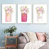 QZHSCYB Acuarela Floral Tarro de masón Lienzo Pintura Shabby Chic decoración de la Boda Cartel nórdico peonía Rosa Impresiones de Flores Cuadros de Pared -40x60cmx3 Piezas (sin Marco)