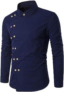 U/A Uomo Camicia Manica Lunga Girare Collare Diagonale Doppio Petto Pulsante Camicia Di Cotone Camicia Camicia Uomo Camici...