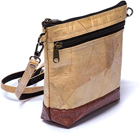Leaf Leather Shoulder Bag Womens Crossbody Purse Adjustable Ethical Fashion Handmade with Tree product image
