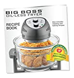 Big Boss Oil-less Air Fryer, 16 Quart, 1300W, Easy Operation with Built in Timer, Dishwasher Safe, Includes 50+ Recipe Book - White