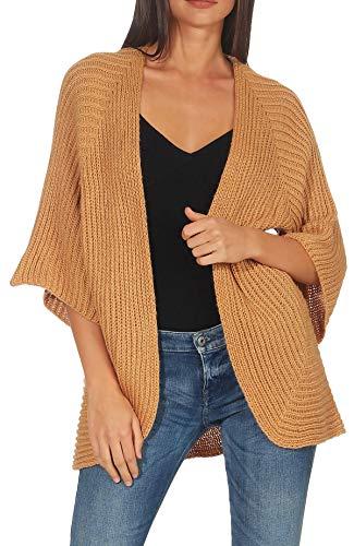 Malito Mujer Lana-Chaqueta Superior Cardigan Suéter Pullover 0185 (Adecuado de la Talla 40 hasta 46, Camel)