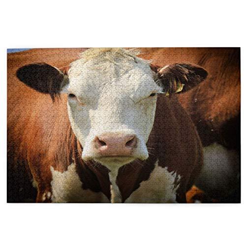 Rompecabezas de 1000 Piezas,Rompecabezas de imágenes,ia Cabeza Azul Vaca Naturaleza Brown Ganado Carne Bovino,Juguetes puzzle for Adultos niños Interesante Juego Juguete Decoración Para El Hogar