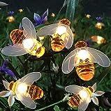 Guirnalda Luces Exterior Solar, 60 LEDs 11m Luces solares de jardín, IP65 Impermeable 8 Modos Cadena Solar de Luces para Terraza Hogar Jardín Arboles Patio Bodas Navidad Festival blanco cálido