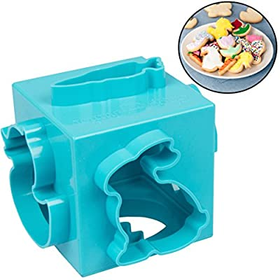 Easter Cookie Cutter Cube- Cookie Press Set w 6 Fun Shapes- All in One 6-Sided Design Means No More Clutter