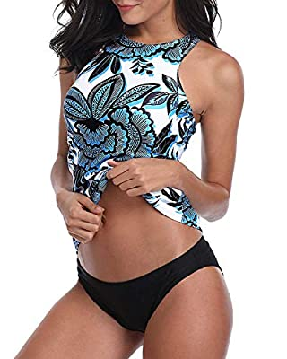 Century Star Tankini Swimsuits for Women Halter Bathing Suits Crew Neck Two-Piece Swimwear Tank Top with Bikini Bottom Blue Flower XL (fits like US 8-10)
