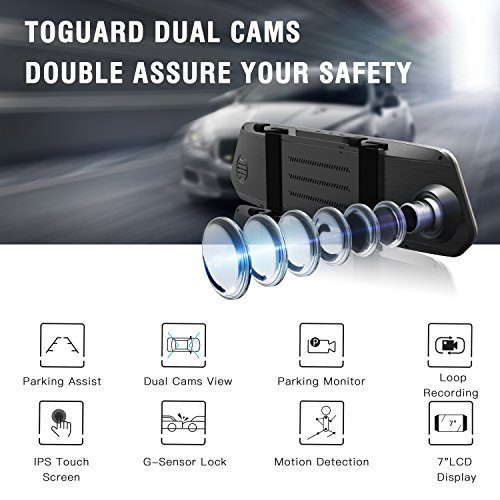 TOGUARD Mirror Dash Cam 1080P Dual Lens 7 Inch IPS Touch Screen, Dash Cam Front and Rear View Waterproof Backup Camera 170°Wide Angle with G-sensor Parking Monitor Motion Detection