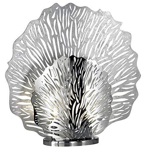 Corallen Design Chrome Lampe De Table Salon Salle De Travail Éclairage Liseuse Feuille ARGENT Honsel 50126
