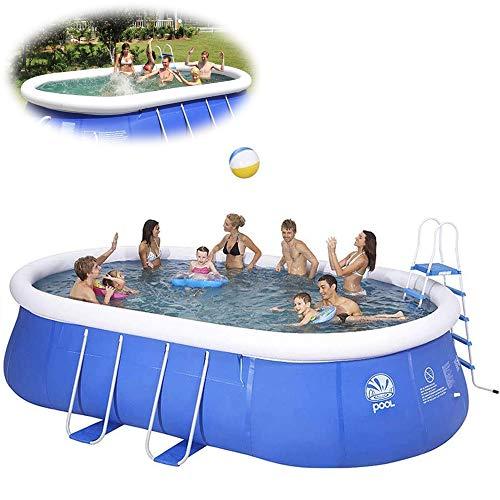LonME Aufblasbarer Pool in Voller Größe, Planschbecken Für Kinder Für Erwachsene Großer Ovaler Privater Pool, Verdickung Der Außenhalterung Im Sommer Umweltschutz