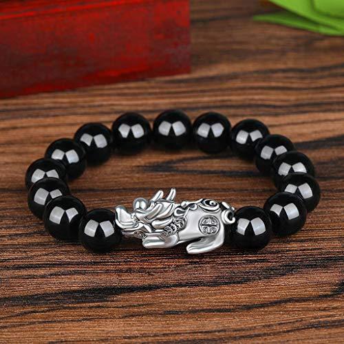 Pulsera de cuentas Pixiu con piedra obsidiana negra, amuleto de la suerte, con seis palabras, color negro
