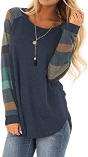 Halife Women's Lightweight Color Block Long Sleeve Loose Fit Pullover Sweatshirts Tunics Tops Shirts