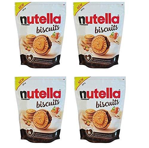 4 Confezioni da 304gr. di NUTELLA BISCUITS, biscotti croccanti dal cuore morbido ripieno del gusto unico di NUTELLA FERRERO, 4x304 gr