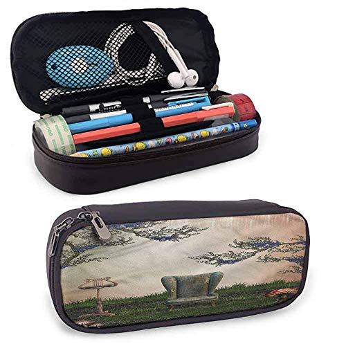 XCNGG Bolsa de papelería para estudiantes vintage, bolsa con cremallera para sillón antiguo y retro para bolígrafos, lápices, resaltadores, bolígrafos de gel, marcadores, borradores y otros útiles esc
