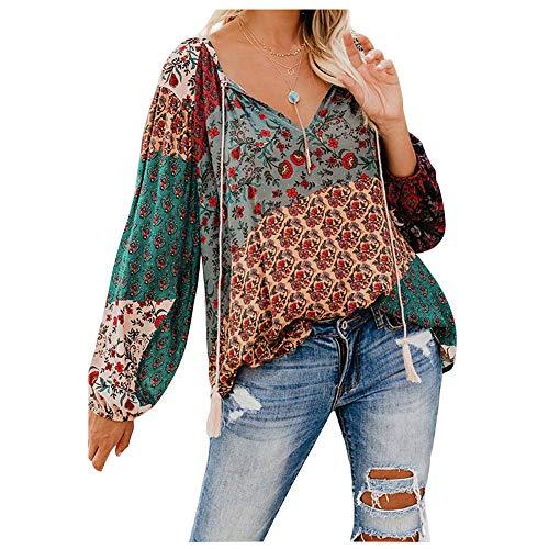 Landove Cable de camisa casual blusa de flores de la llamarada de manga larga con cuello en V de Boho impresos camisas sport Tops para Chicas SG Verde