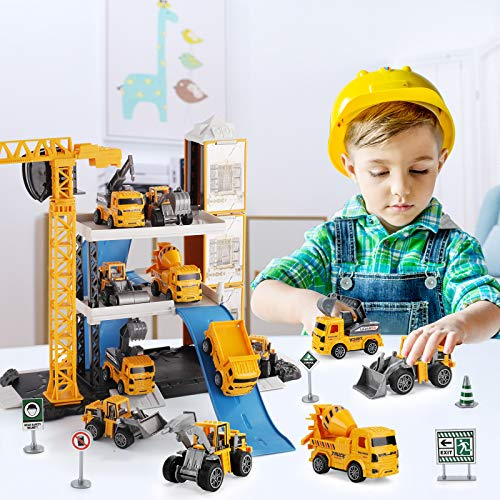 TEMI Construction Toys - 60PCS Toy Trucks Vehicle w/ Tractor, Digger, Crane, Dump, Excavator, Cement, Steamroller, Map, Kids Engineering Truck Playset for 3 4 5 6 Year Old Boys Children Toddlers