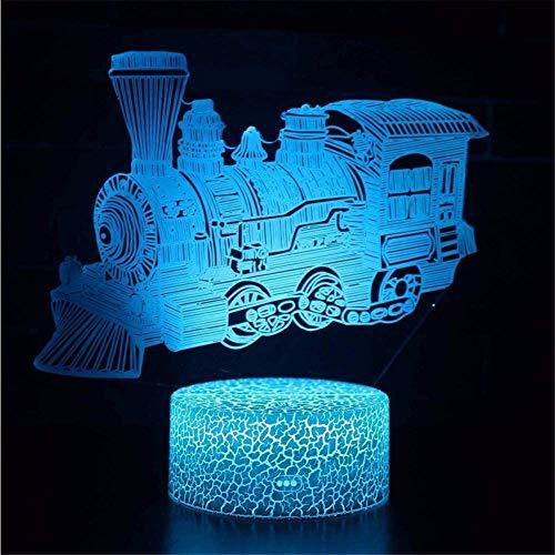 3D llevó la luz de la noche 3D ilusión LampTrain regalos de cumpleaños de Navidad para niños niñas adultos hogar bar decoración 3D ilusión lámpara, luz 3D noche para niños niñas