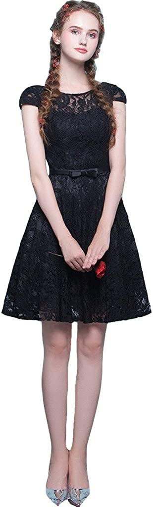 Little Black Lace Sheer Cap Sleeves Vintage Prom Homecoming Dresses Cocktail Gowns