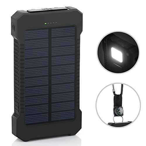 Solar Charger, 10000mAh Solar Power Bank with Dual USB, External Backup Battery Pack Solar Panel Cellphone Charger for IOS and Android Cellphones (Black)