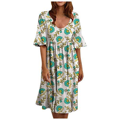 liulangzhe No1 Frauen Sommer Kleid Blumen Rüschenkleid Teens LäSsig Lose Minikleid Kurzes Kleid Cocktailkleid Tunika Kleid Hemden Tops Kleid