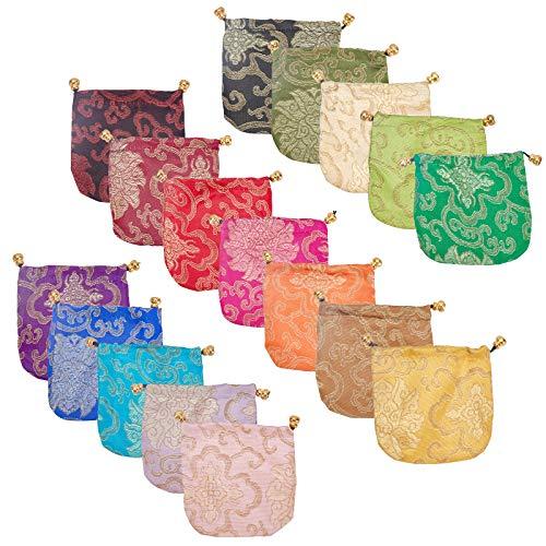 NBEADS Bolsas de Joyería de Seda de 34 Piezas, Bolsas de Regalo con Cordón de 17 Colores para Almacenamiento de Collar, Pulsera, Anillo, 10.5 x 11 cm