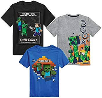 Minecraft Boys Creeper & Characters 3 Pack T-Shirt SetBlack/Gray Heather/Blue5/6