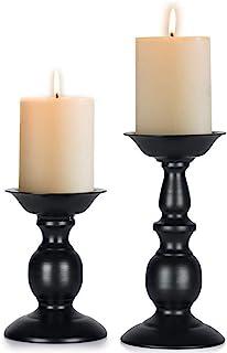 (2Pcs/set) - Szqiqi Retro Iron Candle Holder Cylindrical Candle Holder Table Candle Holder for Wedding, Festival and Birth...