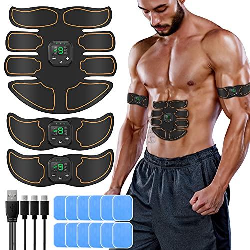 ABS Trainingsgerät EMS Muskelstimulation Elektrostimulation Professionelle USB Muskelstimulator Elektrische Bauchmuskeltrainer Massagegerät für Damen Herren