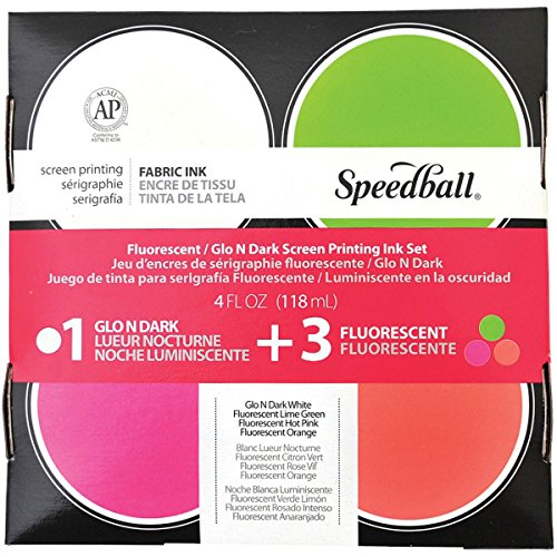 Speedball SB45027 Glo 'n Dark and Fluorescent Screen Printing Ink, 4 oz Jars, Set of 4