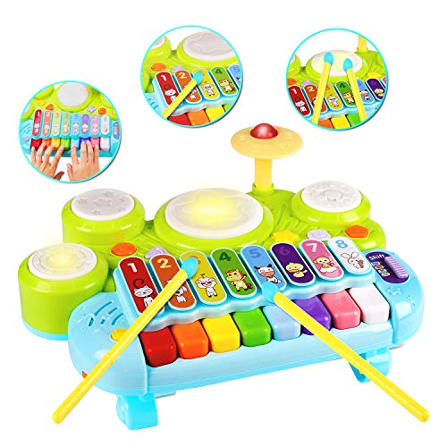 Baby Musical Montessori Toys 3 in 1 Piano Keyboard Xylophone Drum Set Sensory Preschool Learning Educational Developmental Toys Gift for Toddlers Baby Girl Boy Infant Toys 6 12 18 Months 2-4 Age
