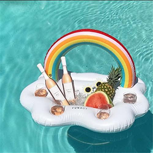 HelloCreate Sostenedor inflable de la nube del arco iris, soporte del refrigerador de la piscina, flotador, servir, fiesta, accesorio de la piscina para el agua piscina
