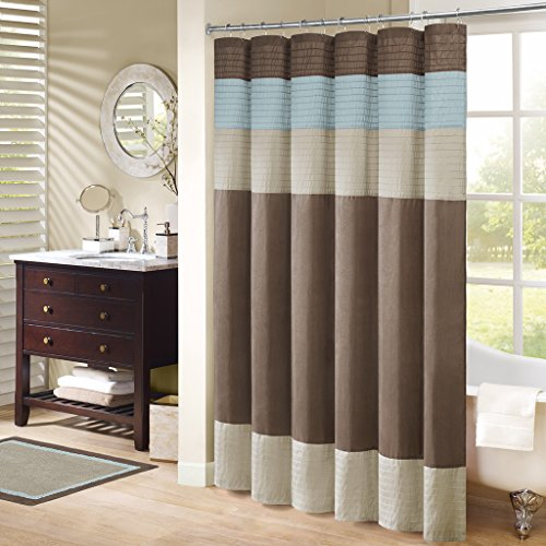 Madison Park Amherst Bathroom Shower Curtain Faux Silk Pieced Striped Modern Microfiber Bath Décor, 72x72 Inches, Blue